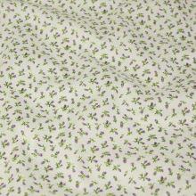 Bavlněné plátno krémové, lila poupata, š.140