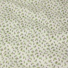 Bavlnené plátno krémové, lila puky, š.140