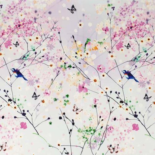 Šatovka jarné kvety, vtáky, š.145
