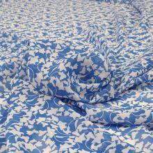 Šifon modrý, bílý vzor š.145