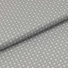 Bavlněné plátno šedé, bílý drobný vzor, š.140