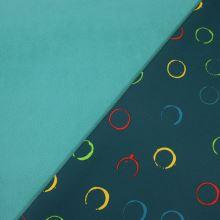 Softshell petrol, barevné kruhy, š.145