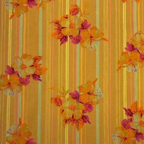 Košeľovina 06372 okrová, farebný kvet, pruh š.150