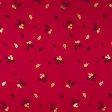 Vánoční popelín červený, zlatý vzor, š.145