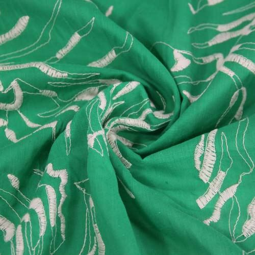 Košeľovina zelená, biela výšivka, š.140
