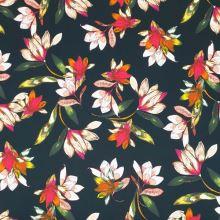Bavlna černá, růžovo-oranžové květy, š.145