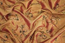 Taft žltý výšivka s flitrami š.145