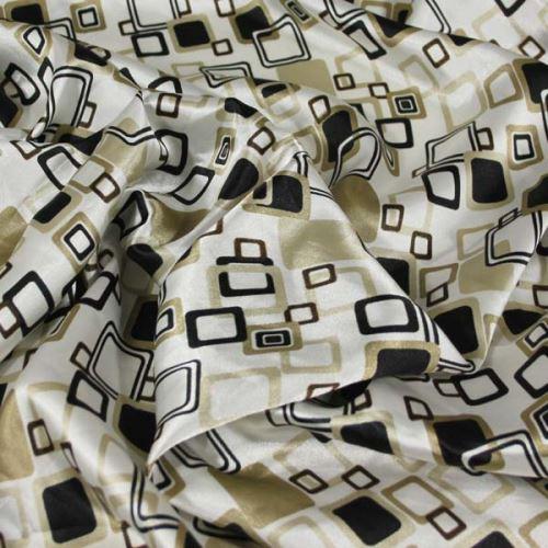 Satén bílý, béžovo-černé čtverce, š.140
