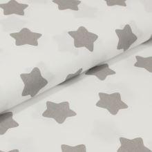 Bavlněné plátno bílé, šedé hvězdy, š.160