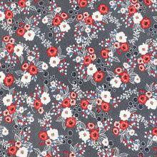 Úplet modrý, biele bodky, červeno-biele kvety, š.150