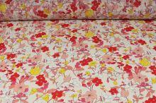 Šifón krémový, červeno-žlté kvety, š.150