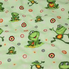 Bavlna svetlo zelená, veselé žaby, š.140