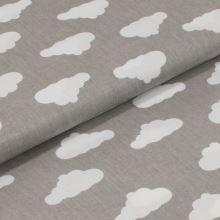 Bavlněné plátno šedé, bílé mraky, š.160
