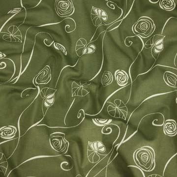 Bavlna khaki, bílý vzor š.140