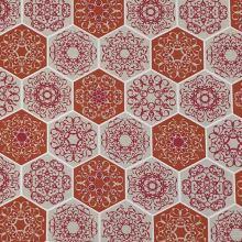Dekorační látka režná, vínové šestiúhelníky, š.140