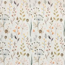 Dekoračná látka P0554 režná, listy, vetvičky, kvety, š.140