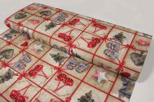 Vánoční dekorační látka béžovočervená, š.140