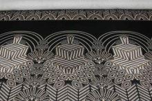 Úplet černý, béžovo-šedý vzor, š.150