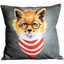 Povlak na polštář šedý, liška v brýlích, 45x45 cm