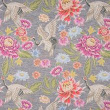 Úplet šedé melé, barevný květ, pták, š.150