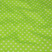 Bavlna zelená, bílá srdíčka, š.140