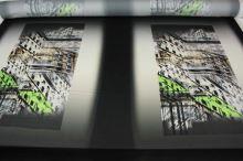 Satén foto, zelený vzor, š.140