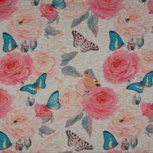Teplákovina nepočesaná šedá melanž, růže, motýli, ptáci, š.150