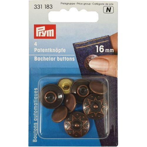 Knoflíkový druk Prym, měděný, 16 mm, 4ks