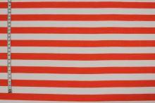 Tkanina oranžovo-biely pruh, š.150