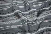 Košeľovina sivá, čierny pruh, š.160