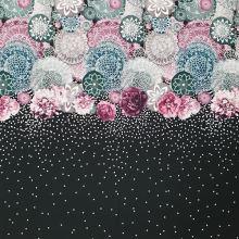 Úplet čierny, farebné kvety a biele bodky, š.175