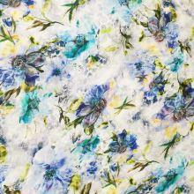 Úplet biely, tyrkysové a modré kvety, š.160