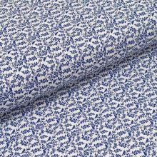 Bavlněné plátno bílé, modré větvičky s ptáčky, š.140