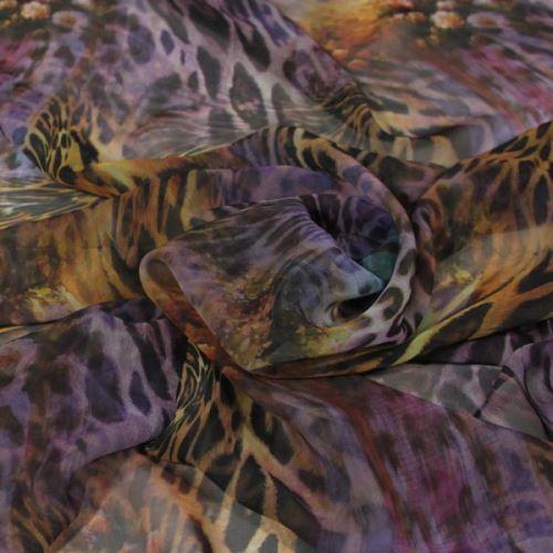 Šifon fialový, zvířecí vzor š.145