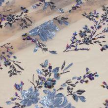 Vyšívaný tyl telový, svetlo modrý flitrový kvet, š.130/145