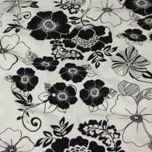 Bavlna smetanová, černý květ, š.150