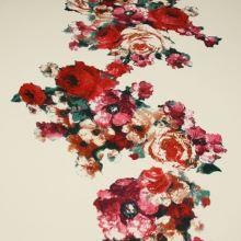 Úplet krémový, kvetinový vzor, š.145