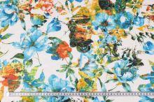 Úplet bílý, tyrkysovo-žluté květy, š.140
