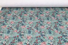 Teplákovina nepočesaná šedozelená, barevné květy , š.175
