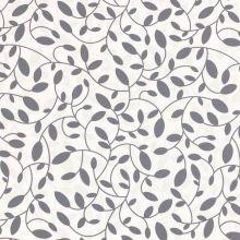 Dekoračná látka s teflónovou úpravou biela, sivé listy, š.160