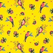 Teplákovina nepočesaná žltá, vtáky medzi kvetmi, š.150