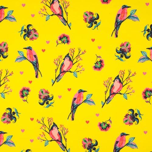Teplákovina žlutá, ptáci mezi květy, š.150