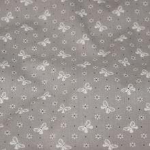 Bavlna šedá, motýlci a kytičky, š.140