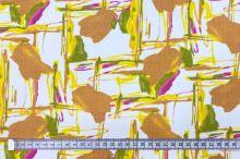 Dekorační látka bílá, žlutohnědý motiv, š.145