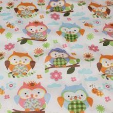 Bavlněné plátno bílé, oranžovomodré sovy, š.140