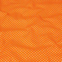 Bavlna oranžová, biele bodky, š.140