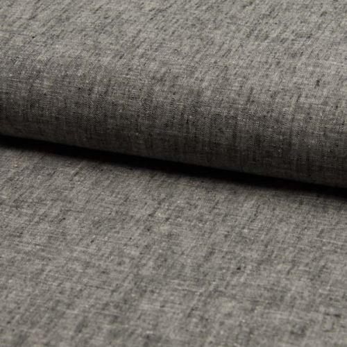 Lněná kostýmovka, šedá melange, š.140