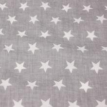 Bavlna šedá, biele hviezdy, š.160