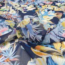 Šifon modrý, barevné květy, š.145
