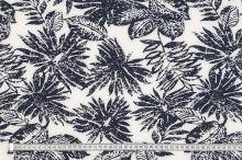 Šatovka SILKY biela, modré listy, š.145